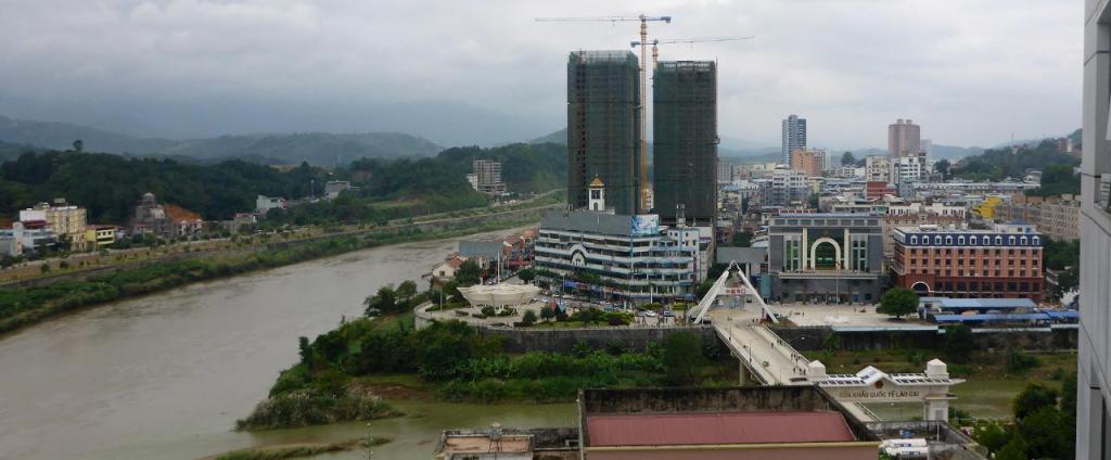 A view of the border bridge between Hekou, China and Lao Cai, Vietnam from our hotel room.