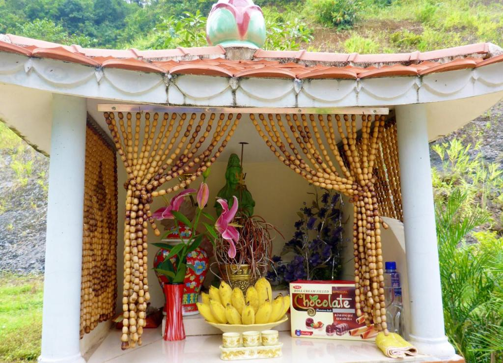 An interesting shrine outside a Vietnamese hotel. We were out of little bananas and these looked great to take but the Buddha quickly changed our minds.