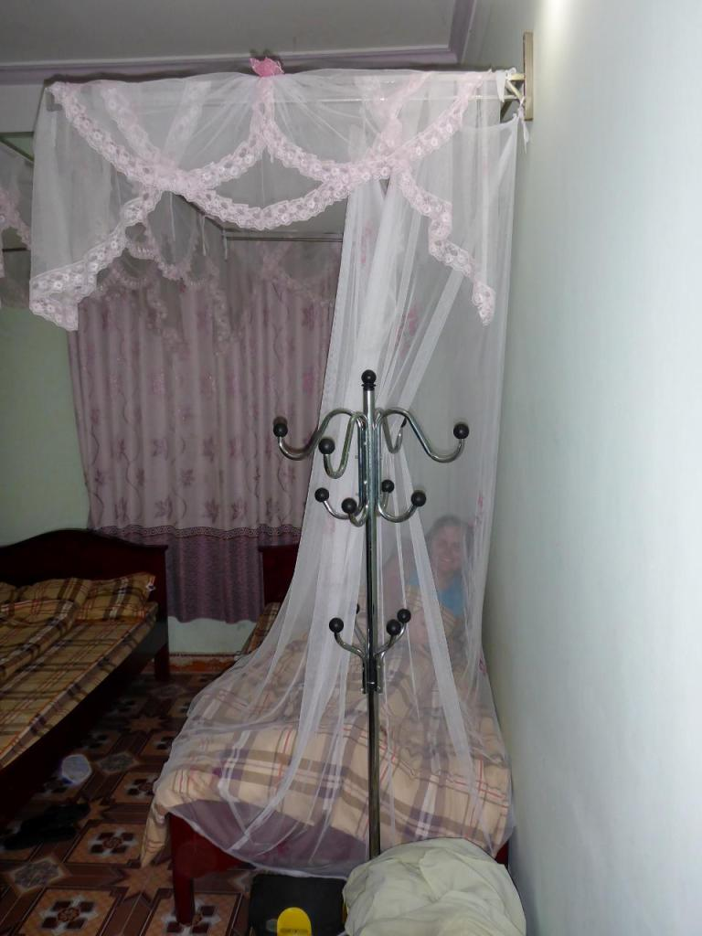 This guest house ($12) has mosquito netting over the bed.