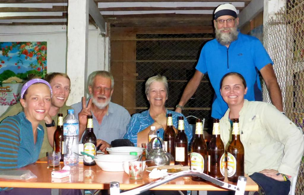 We stayed at a guest house in a small village. This was the only open restaurant. We sat down to eat and the South African couple to our left entered and then the New Hampshire couple on the far left. We are all touring cyclists. They were all headed to Vietnam. What a small world and a great time!