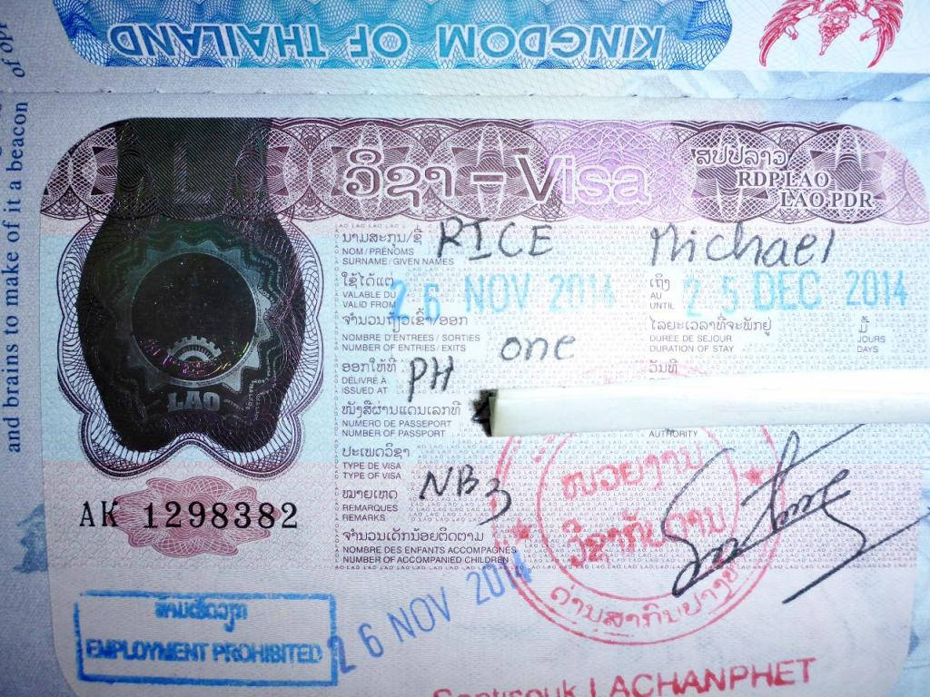 A very cool Laos visa stamp.  The best part...a 30 day visa on arrival for $35 USD!