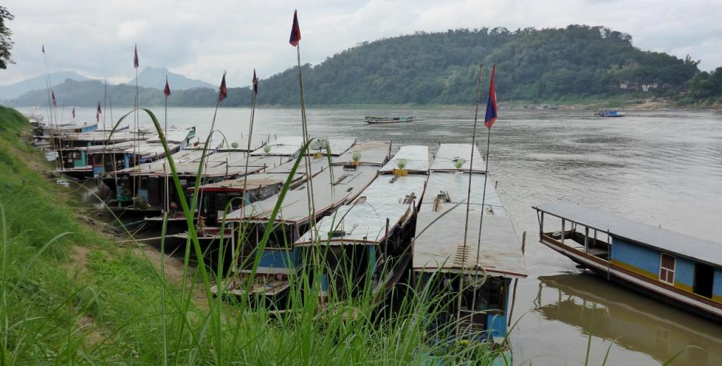 Boats along the Mekong River.