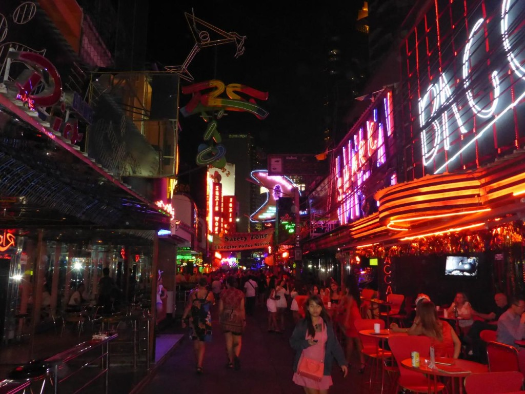 The Soho District (Red Light District)of Bangkok. We had a few beers here and watched the action.