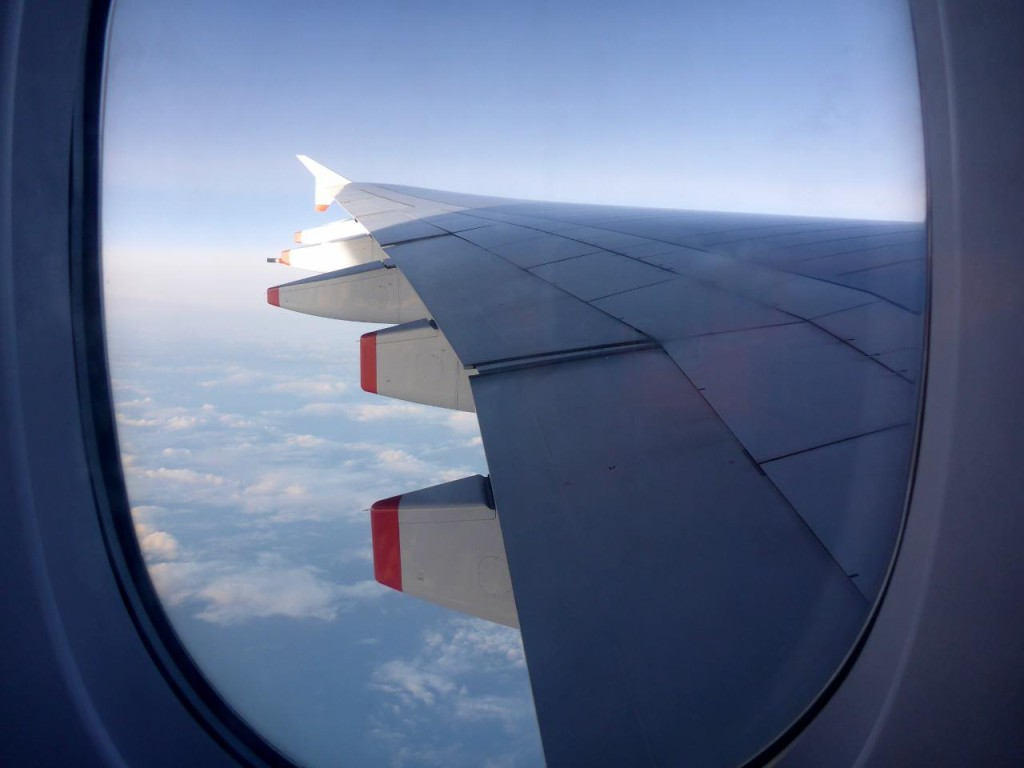 The wing of an Airbus 380 is very long.