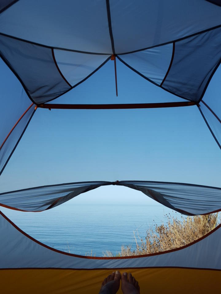 A tent view by Jocelyn at El Capitan State Park.