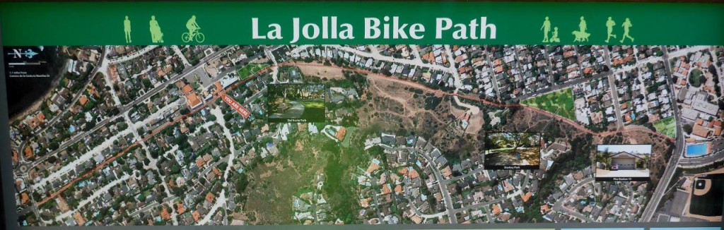 Jocelyn found this bike path that took us above and around the very busy traffic of La Jolla.