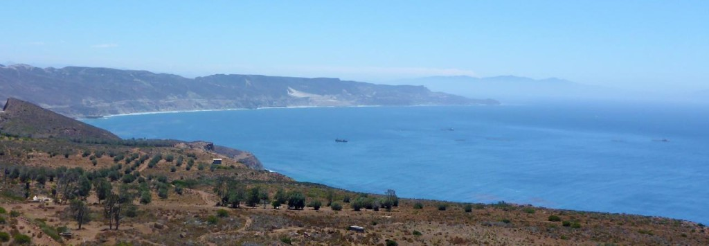 The Baja coastline driving to Ensenada.