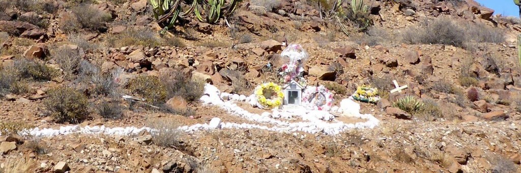 There are many roadside memorials through the desert.