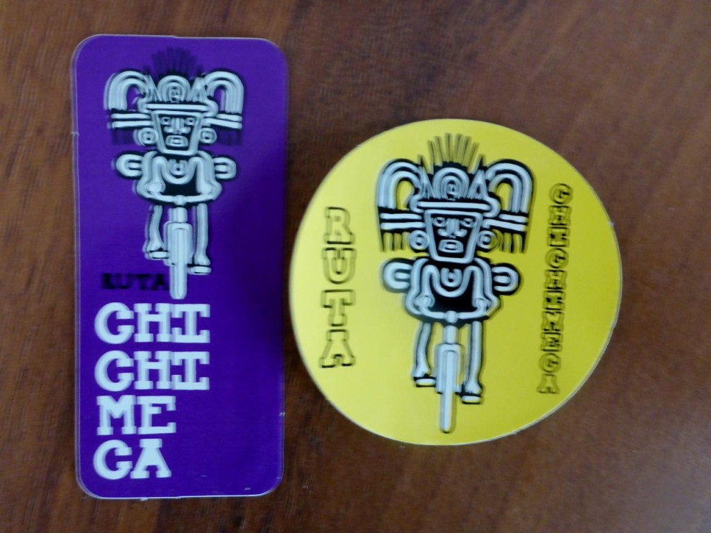 "We met three cyclists from Tijuana who are riding from Cancun back to Tijuana. They gave us these stickers. After we rode off I thought, ""I forgot to take their picture."""