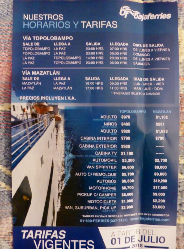The latest Baja Ferry schedule and prices.