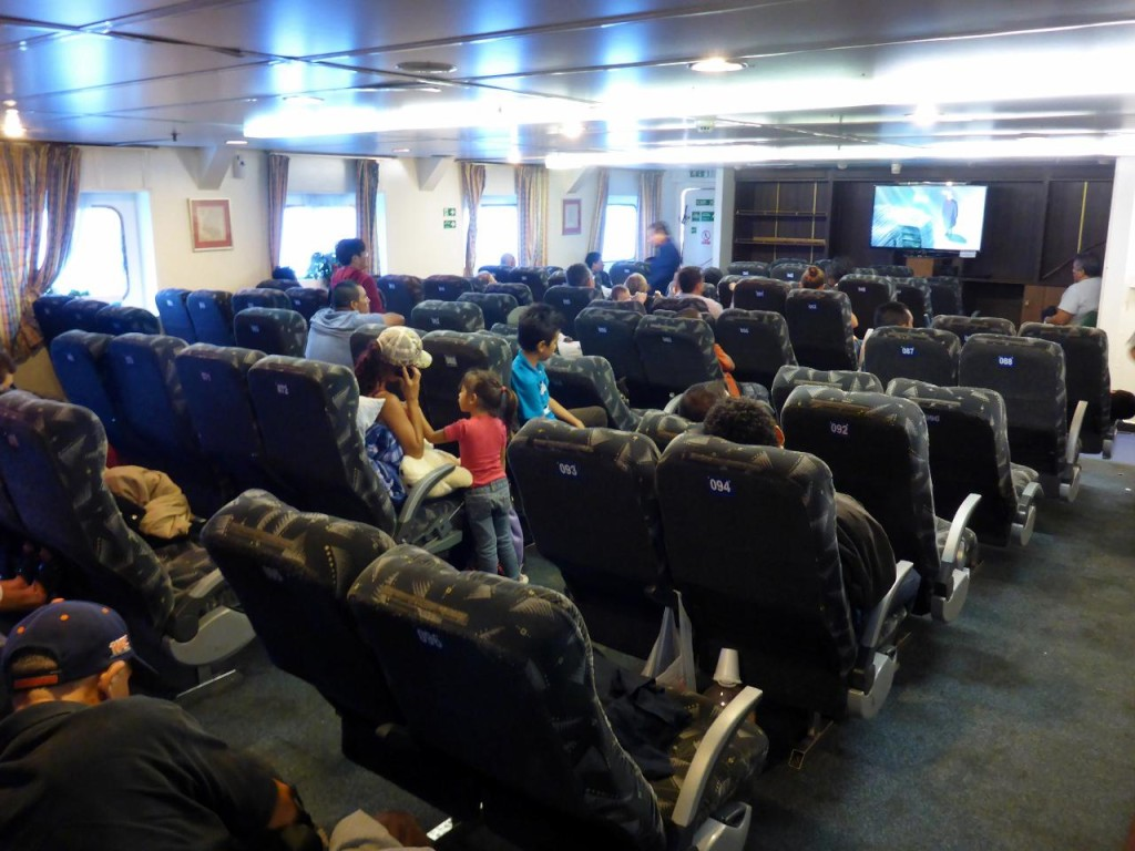 The salon seats on the ferry for those that don't purchase a cabin.