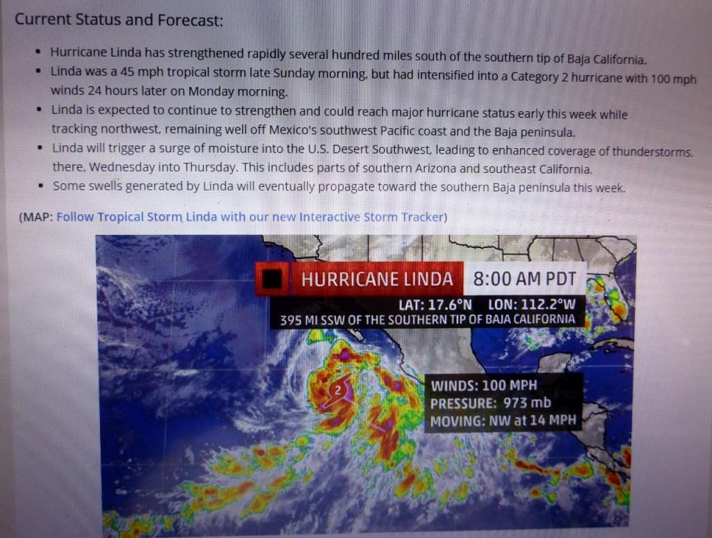 Hurricane Linda close to Mexico.