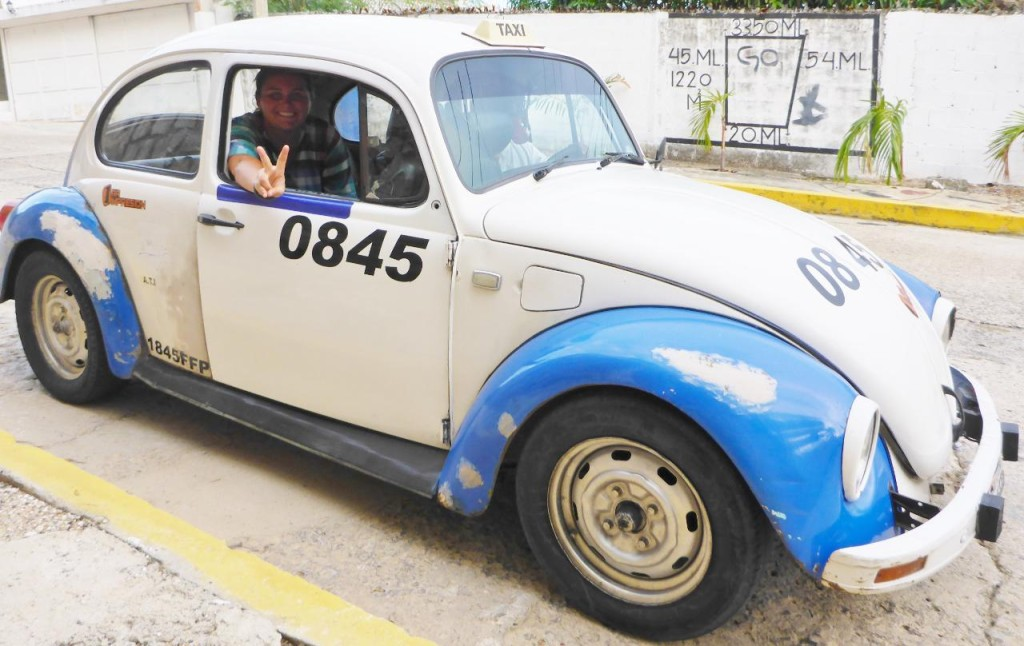 All the taxis are old VW Beetles!