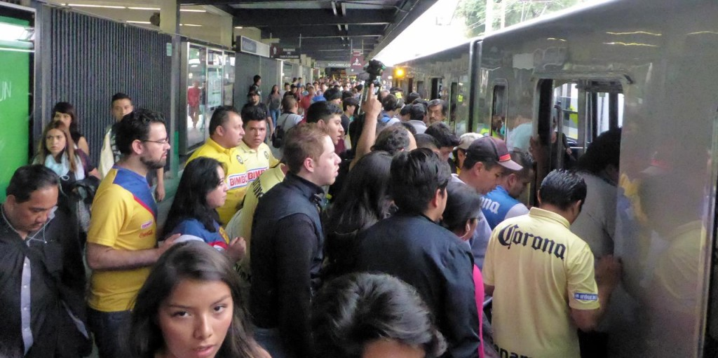 After our 5 hour bus trip we boarded the metro for what we thought was the center of Mexico City. We were wrong and ended up at the stadium where a soccer game was being held. We took the metro back then hailed a taxi.