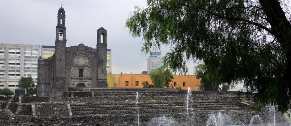 Tlatelolco - built in the 1500's. The ruins in the front are what is left of an Aztec temple. The Spanish demolished the temple and built this church on top of the temple foundation. They did this to all temples they found.