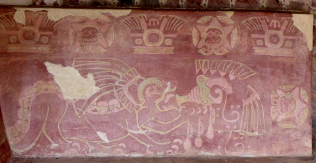 An unrestored original mural a few thousand years old.
