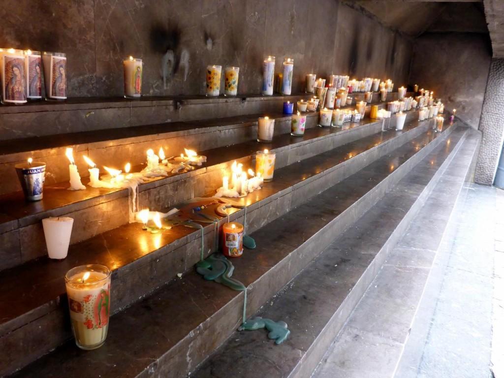 La Villa - La Basilica de Santa Maria de Guadalupe. Prayer requests are made with these candles.