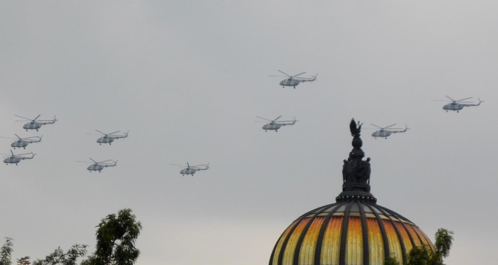 A helicopter flyover around the square. This dome is from the art palace we visited yesterday.