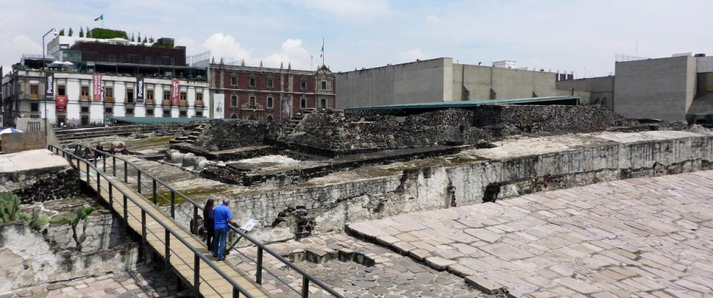 40 years ago while laying new subway cable the remains of an Aztec Temple was found. Several buildings were removed to expose this.