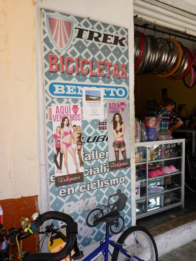 A fine bike shop along with laundry and lingerie. Multi marketing very common here.