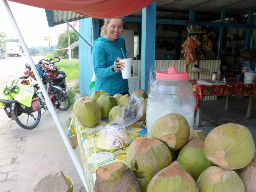 Fresh chilled coconut water. We drink this a lot.