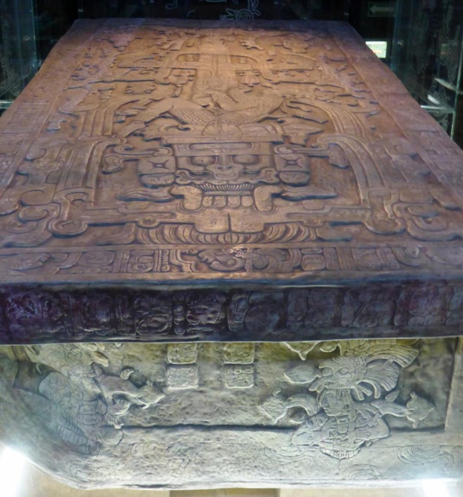 "This sarcophagus was found on the highest temple. It was a real ""Indiana Jones"" finding. The first step was removal of 4 stone plugs. This moved the rock the professor was standing on. A large slab was removed and subsequent puzzle findings over the next four years revealed this king's tomb. His skeleton has also been removed."