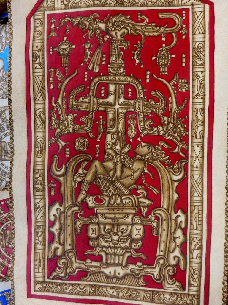 Vendors sell this drawing of the king's sarcophagus on leather.