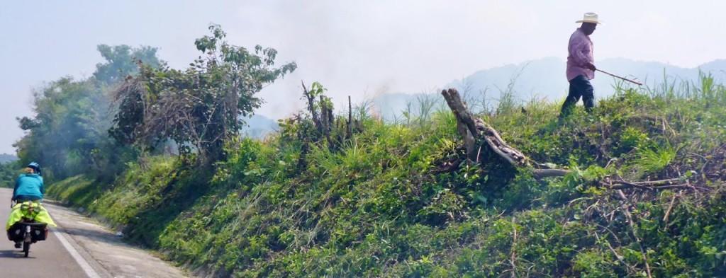 A farmer burning his field.