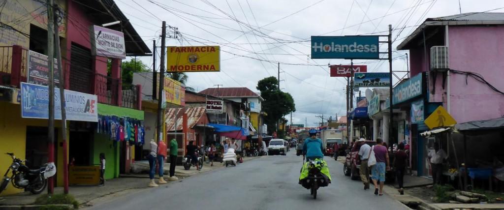 Riding through downtown Rio Dulce.