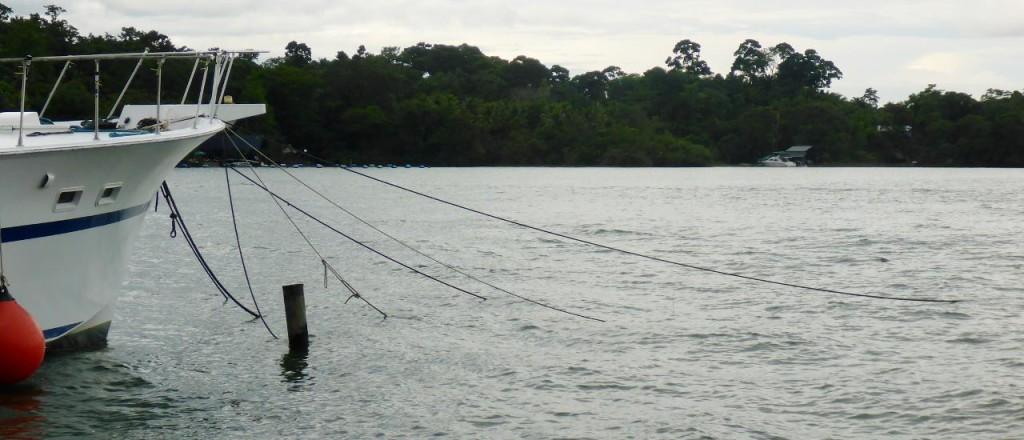 Several bow anchors set.