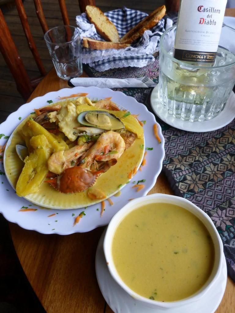 Delicious fish and shellfish cooked in coconut milk. Also coconut camerone (shrimp) soup.