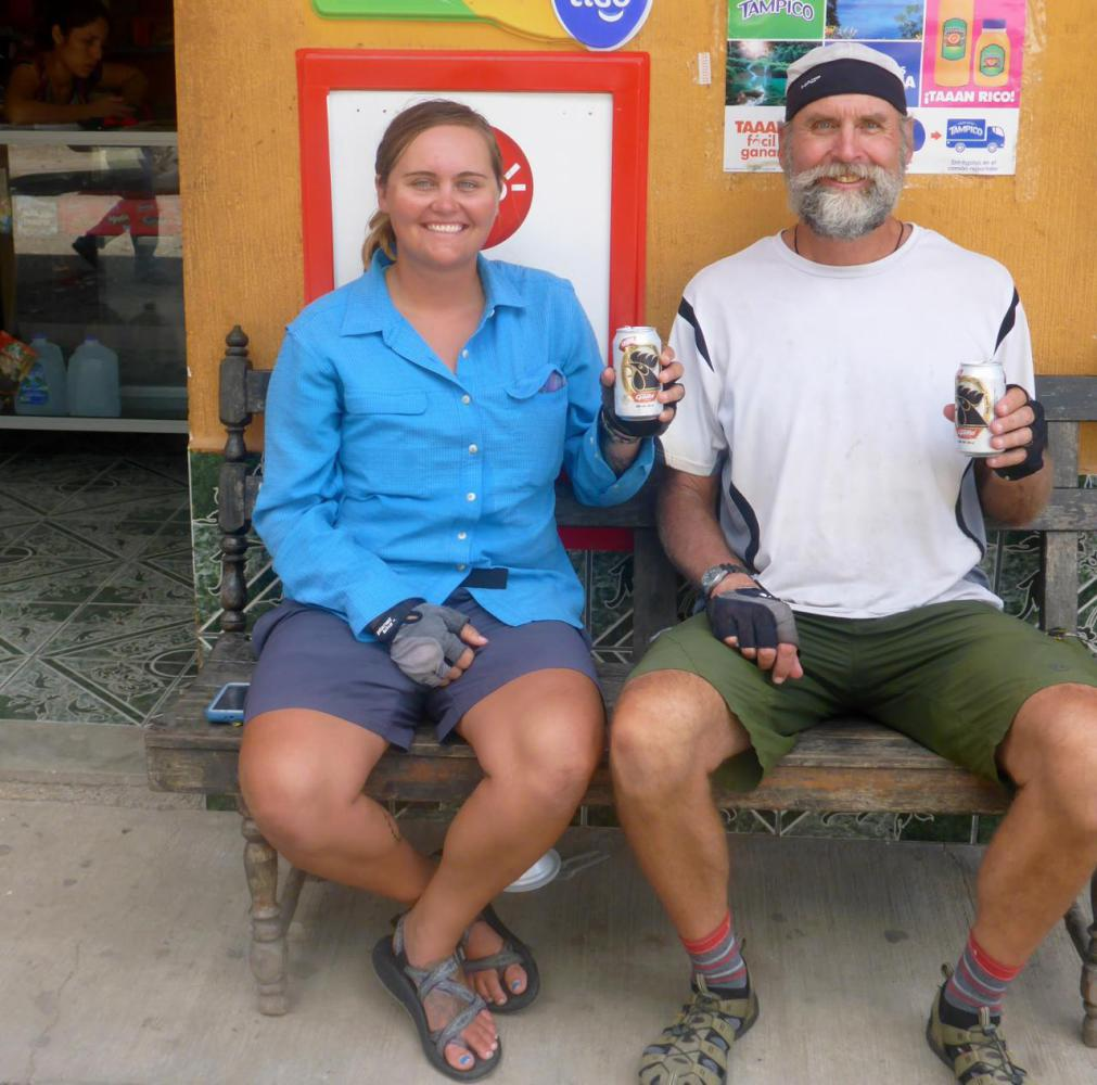 Enjoying our last beer in Guatemala before crossing the border. I didn't wet my pants, just soaked in sweat!