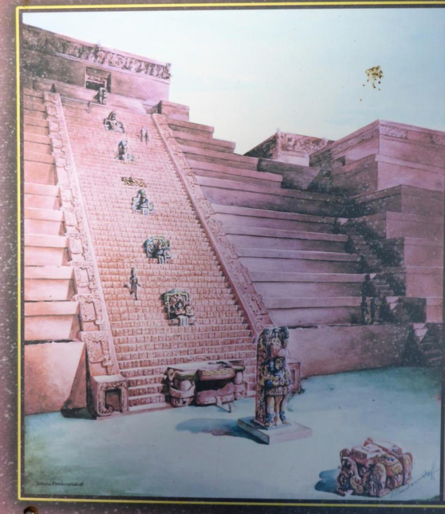 An artists rendition of the hieroglyphics stairway.