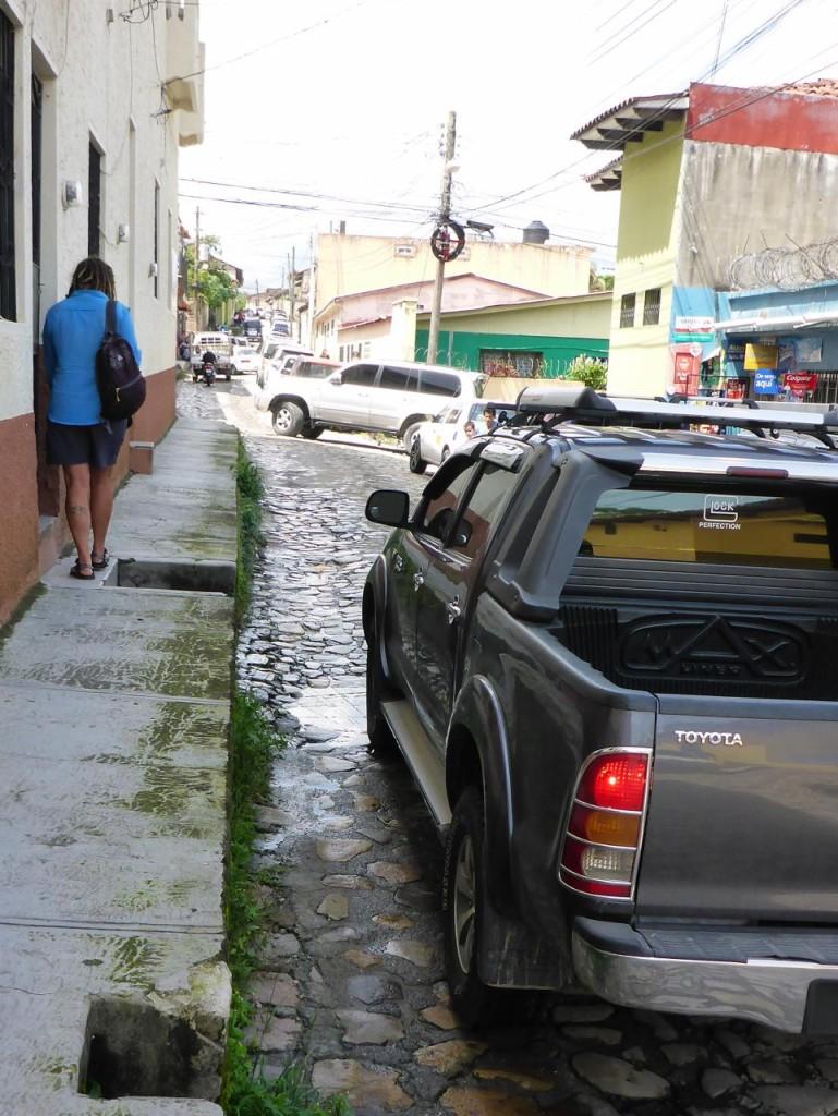 A tall narrow sidewalk.