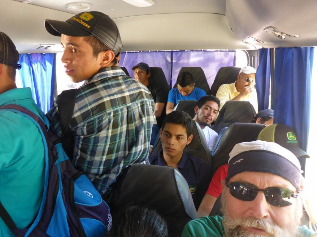 Crowded bus for the 45 mile two hour ride. They didn't leave until every seat and standing space was taken. The cost for us and the bikes was about $8.