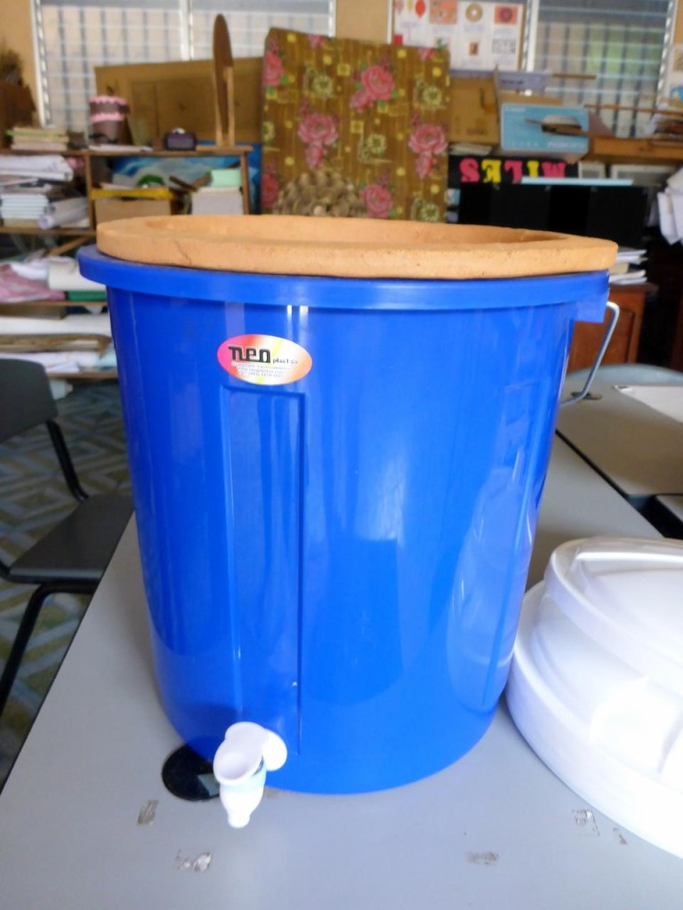 Kate arranged for the school to get 5 much need water filters. We picked them up in a neighboring town,another crazy road trip, and delivered them to the school. Very easy to set up and maintain. The filter is a large clay pot that sets in the plastic pail.