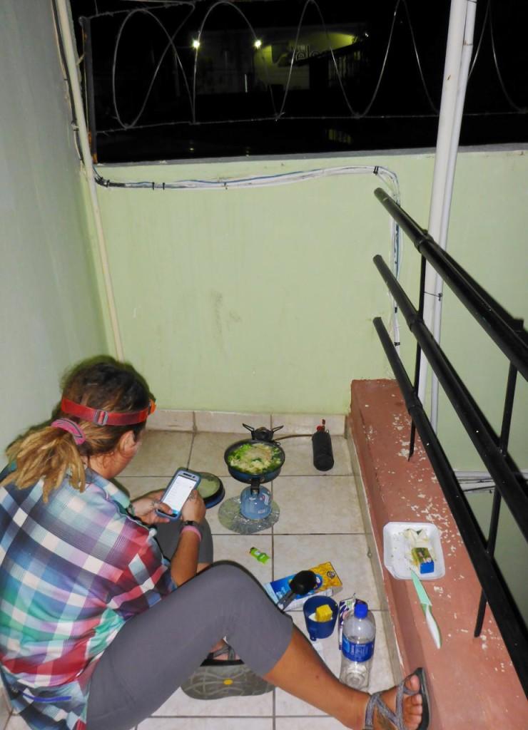 Jocelyn cooking dinner.