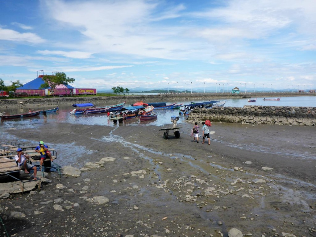 A boat ride during low tide.