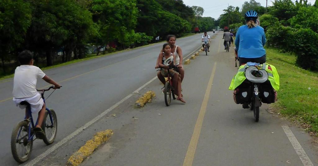 A real bike path entering Chinandega, Nicaragua.