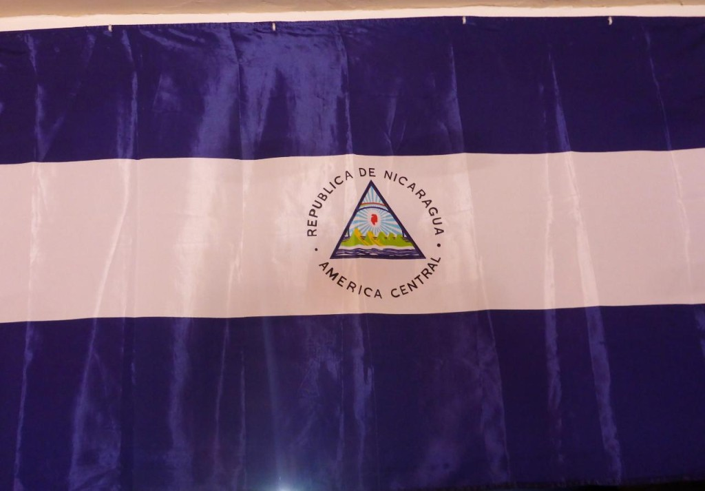 A very fine flag. Nicaragua is the land of the volcanoes.