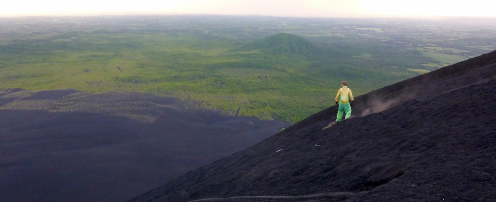 This guy surfed down the volcano with a snowboard.