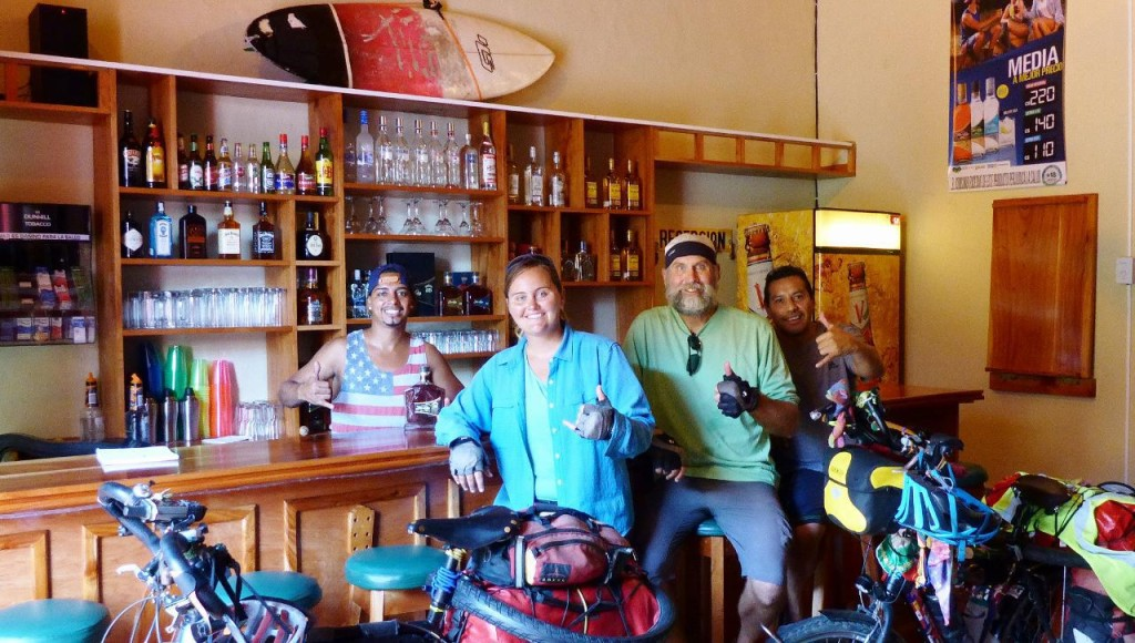 "Alsuavenica Hostel (""Where everybody knows your name"" Robert behind the bar and Edwin, the owner on the right."