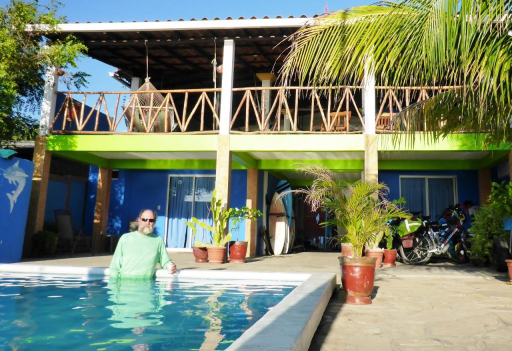 Puerto Sandino Surf Resort at Miramar Beach. Our bikes on the right.