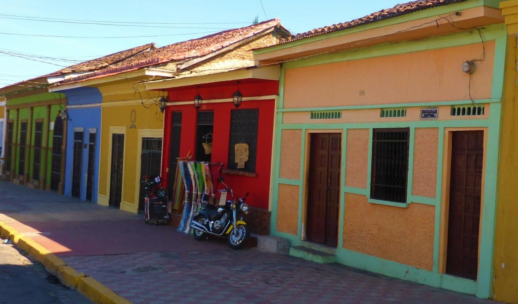 Colorful colonial buildings.