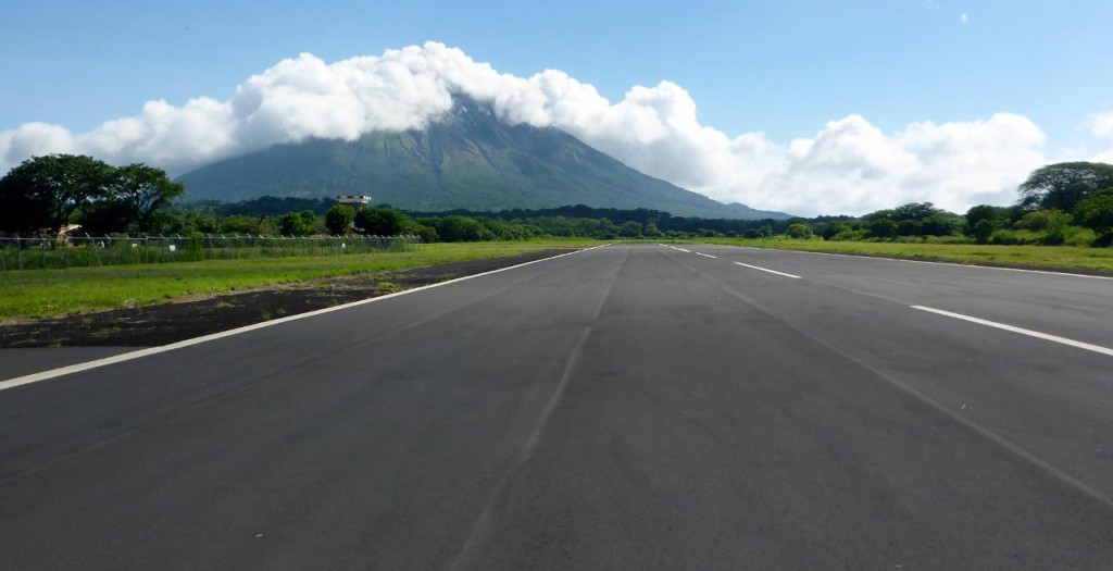 To the left of the runway is Volcan Concepcion...