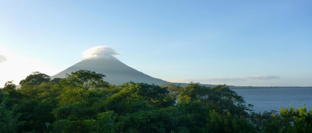 Volcan Concepcion near sunset from a 3 story treehouse.