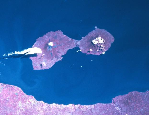 An aerial view of Isla de Ometepe. Volcan Concepcion on the left and Maderas on the right.