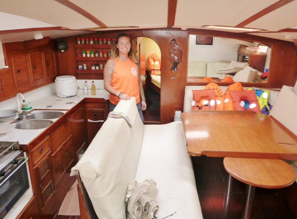 The salon of a Dynamic 47 French built sailboat.