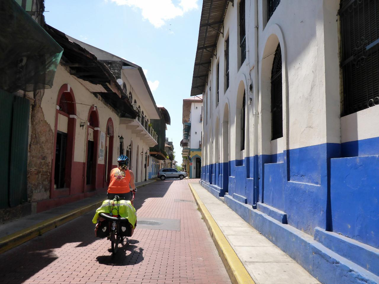 Riding through the narrow streets to find our hotel.