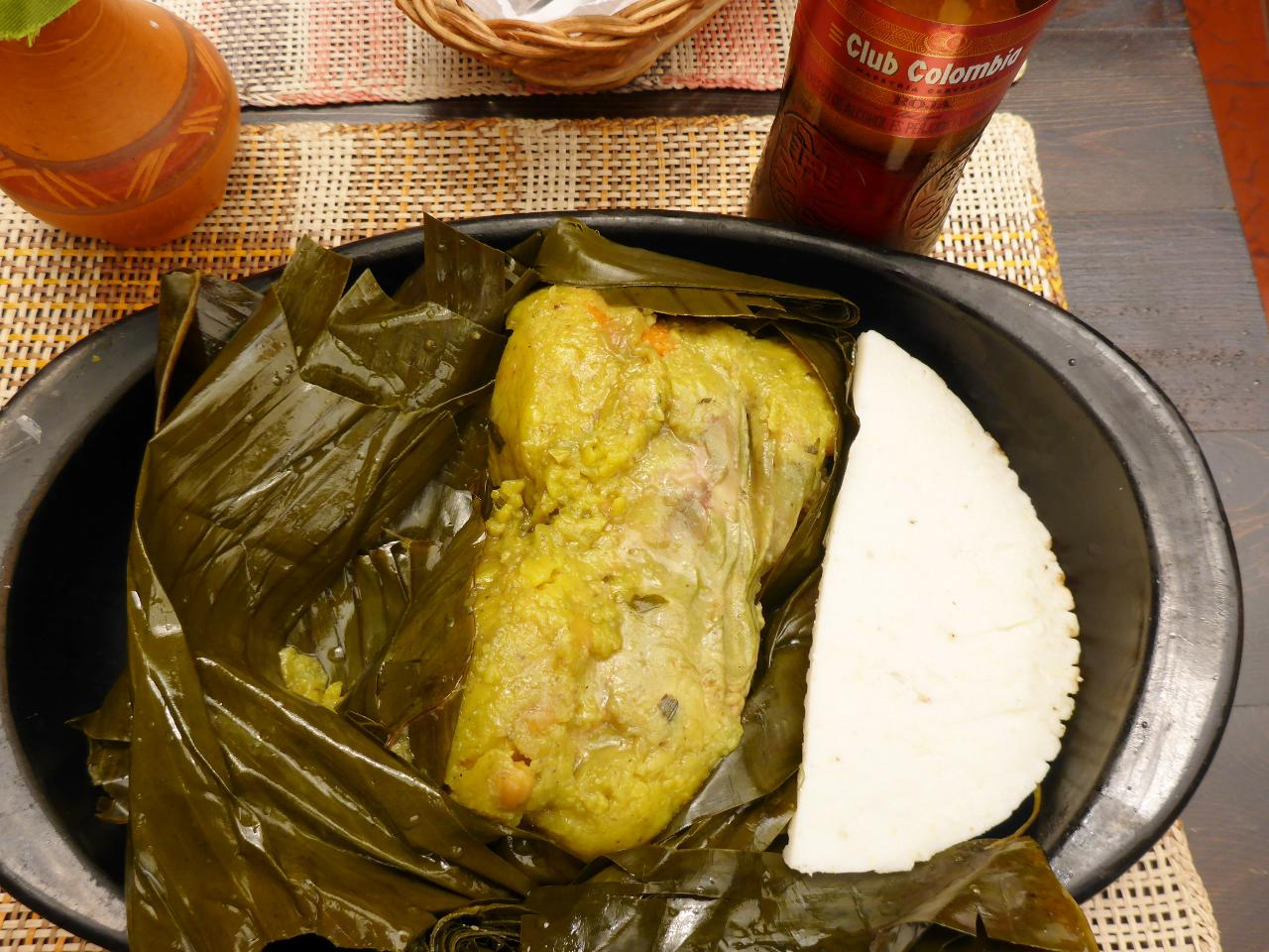 A delicious Colombian tamale.
